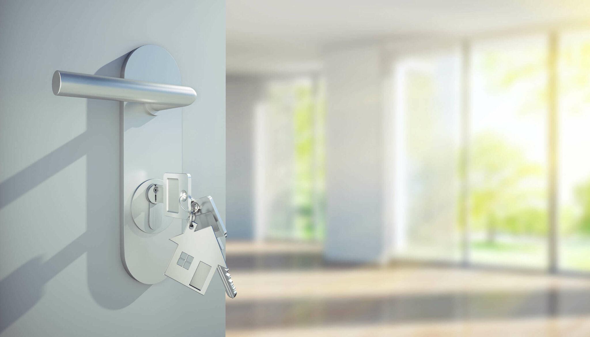 Paul Juul – Schlüssel in Tür – Bild zum Thema Vermietung und Verkauf von Immobilien